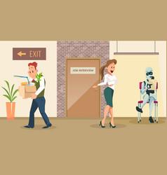 Choose robot for new work upset dismissed man vector