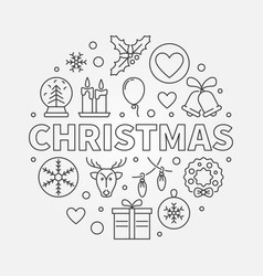 christmas round symbol in thin line style vector image