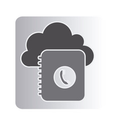 Cloud notebook with phone sign network vector