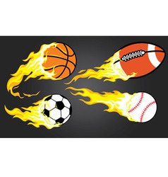 Collection burning sports ball vector