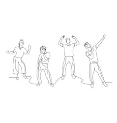 Continuous one line dancing people dance party vector