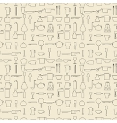 Cooking items linear set seamless texture vector image