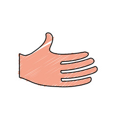 Cute human hand with all fingers vector