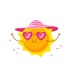 Cute sun wearing heart shaped sunglasses and hat vector