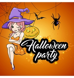 Cute young witch and pumpkin on orange background vector