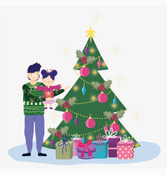 dad carrying little daughter with tree and gifts vector image