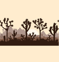 desert seamless pattern with joshua trees opuntia vector image