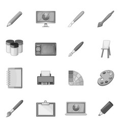 Drawing and painting tool icons set monochrome vector