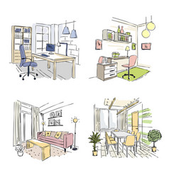 Drawn interiors bedroom living room offices vector