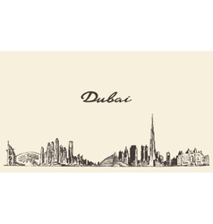 Dubai City skyline Hand drawn vector