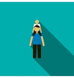 Father with son on his shoulders icon flat style vector
