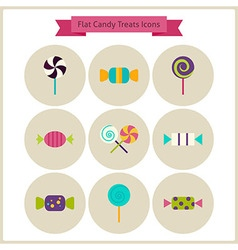 Flat candy sweets treats icons set vector