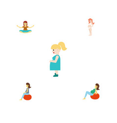 Flat icon pregnant set of fitness pregnancy lady vector