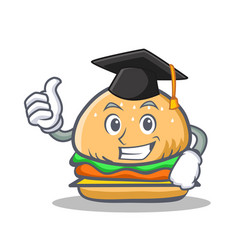 graduation burger character fast food vector image