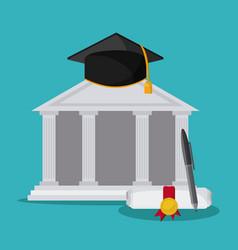 Graduation cap diploma building icon vector
