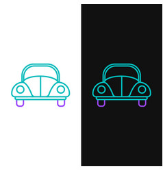 Green and purple line car volkswagen beetle icon vector