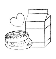 Grunge milk box with sweet donuts and heart vector