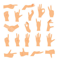 Hands in various gestures flat design modern vector