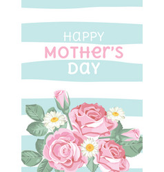 Happy mothers day shabby chic roses on light vector