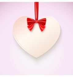 Heart with red bow hanging not tape vector