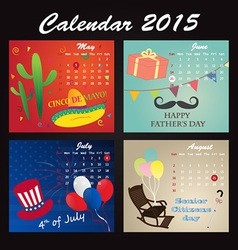 Holiday Calendar 2015 of May June July August vector