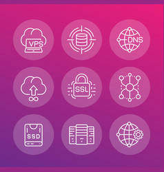 hosting service and network solutions icons set vector image