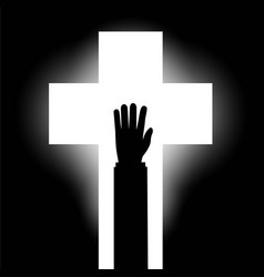 human hand on the background of the religious vector image