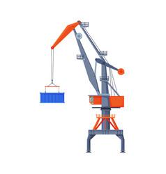 industrial hoisting crane elevating cargo vector image