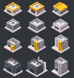 isometric buildings and warehouses vector image