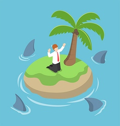 Isometric businessman stranded in an island vector