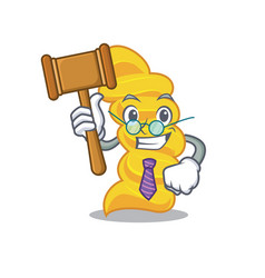 judge fusilli pasta mascot cartoon vector image