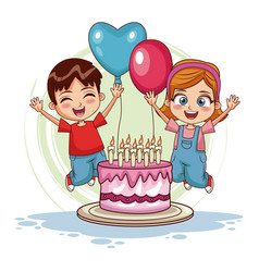 Kids jumping on birthday vector