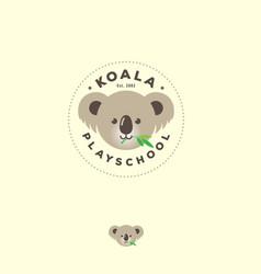 Koala flat logo bear koala emblem kindergarden vector