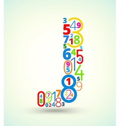 Letter J colored font from numbers vector