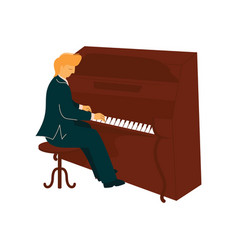 male musician playing piano pianist with vector image