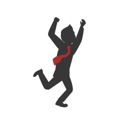 Man necktie avatar person silhouette icon vector image