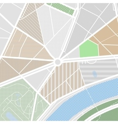 Map of the city with streets parks and pond Flat vector image