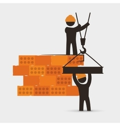 men construction brick wall crane cooperation vector image