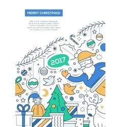 Merry Christmas - line design brochure poster vector image