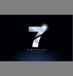 Metal blue number 7 logo company icon design vector