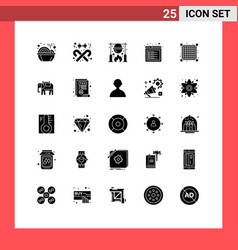 Modern set 25 solid glyphs pictograph web vector