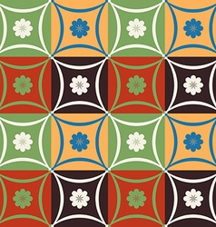 Mosaic tile flower pattern with geometric shapes vector image