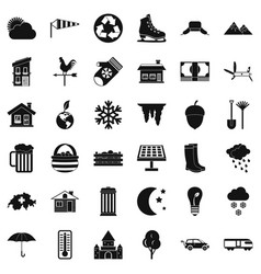 Nature life icons set simple style vector