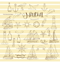 Nautical set with ships vector