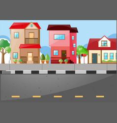 Neighborhood scene with many houses on the road vector