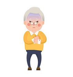 Old Man Chest Pain Cartoon Character vector