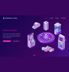 Online casino isometric landing page web banner vector