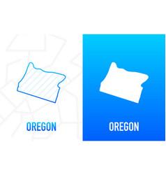 Oregon - us state contour line in white vector