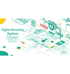 outline cyber security concept isometric isolated vector image