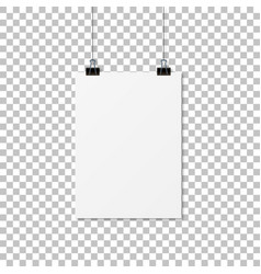 paper hanging with shadow empty paper mockup vector image